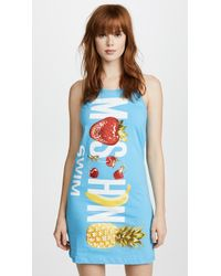 Moschino - Blue Swim Logo Tank Dress - Lyst