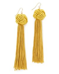 Vanessa Mooney - Yellow The Astrid Knotted Tassel Earrings - Lyst