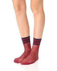 Free People - Red Riot Sport Fishnet Socks - Lyst