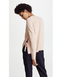 Vince - Natural Side Tie Cashmere Crew Sweater - Lyst
