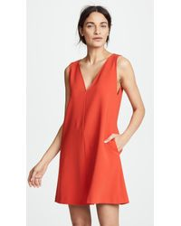 Theory - Red V Shift Dress - Lyst