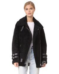 Acne - Black Velocite Shearling Moto Jacket - Lyst