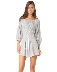Free People | Gray Corsette Mini Dress | Lyst