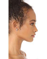 Rebecca Minkoff - Metallic Stacked Baguette Earrings - Lyst
