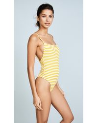 48d4efebab9c Solid   Striped. Women s Yellow The Chelsea Stripe Rib One Piece Swimsuit