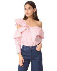 CLU | Pink Asymmetrical Top With Ruffle | Lyst