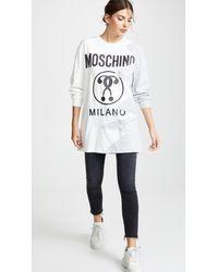 5ddf5c3b9a Moschino Logo Oversize Sweatshirt in Gray - Lyst