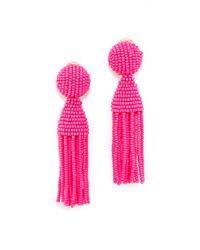 Oscar de la Renta - Pink Classic Short Tassel Clip On Earrings - Lyst