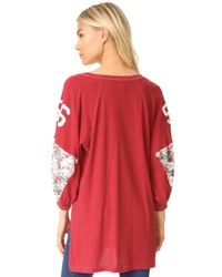 Free People - Red Floral Bomb Tee - Lyst