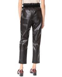 Suncoo - Black Jil Faux Leather Joggers - Lyst