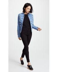 Free People - Blue Fitted Military Denim Jacket - Lyst