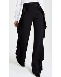 79fe98536482 Alice + Olivia. Women's Black Wallace Side Ruffle Trousers
