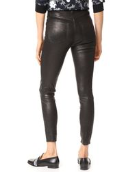 J Brand - Black High Rise Alana Crop Leather Pants - Lyst