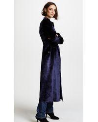 Fleur du Mal - Blue Velvet Trench Coat Robe - Lyst