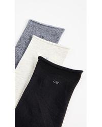 Calvin Klein - Gray Roll Top Sock Three Pack - Lyst