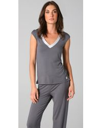 Calvin Klein - Gray Essentials Satin Cap Sleeve Top - Lyst