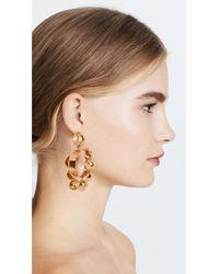 Oscar de la Renta - Metallic Bold Bead Hoop Clip On Earrings - Lyst