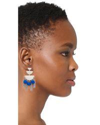 Rebecca Minkoff - Blue Triple Tier Chandelier Earrings - Lyst