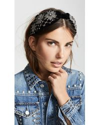 NAMJOSH - Black Velvet Embellished Headband - Lyst