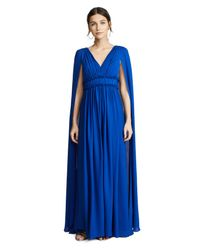 Marchesa notte - Blue V Neck Silk Cape Gown - Lyst