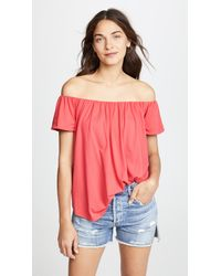 b7c750eecf8de Lyst - Susana Monaco Larina Off The Shoulder Top in Red