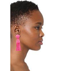 Oscar de la Renta | Pink Classic Short Tassel Clip On Earrings | Lyst
