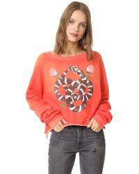 Wildfox | Red Snake Charmer Monte Crop Sweatshirt | Lyst