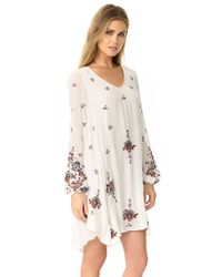Free People - Natural Oxford Embroidered Mini Dress - Lyst
