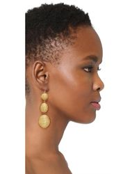 Kenneth Jay Lane - Metallic 3 Tier Ball Drop Earring - Lyst