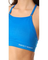 Perfect Moment - Blue Intarsia Fitness Bra - Lyst