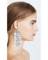 Oscar de la Renta - Metallic Hammered Circle Drop Clip On Earrings - Lyst