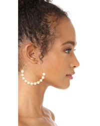 Kenneth Jay Lane - Multicolor Hoop With Imitation Pearls Earrings - Lyst