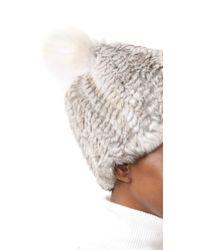 Adrienne Landau - White Knit Fur Hat With Fur Pom - Lyst