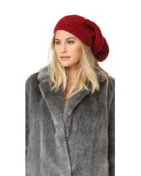 Adrienne Landau | Red Cable Knit Slouch Hat With Fur Pom | Lyst