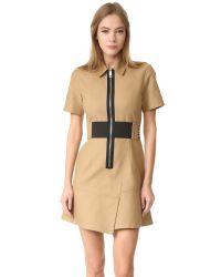 Alexander Wang - Natural Short Sleeve Safari Dress With Lacing - Lyst