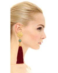 Ben-Amun | Red Jade Tassel Earrings | Lyst