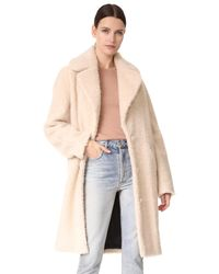 Carven | Natural Faux Shearling Coat | Lyst