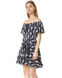 Caroline Constas - Multicolor Bardot Embroidered Dress - Lyst
