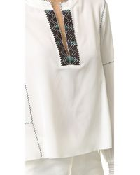 10 Crosby Derek Lam - White Long Sleeve Blouse With Smocked Cuffs - Lyst