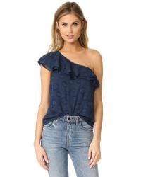 Cooper & Ella - Blue Leah One Shoulder Top - Lyst