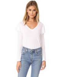 David Lerner | White V Neck Top With Ruffle Detail | Lyst