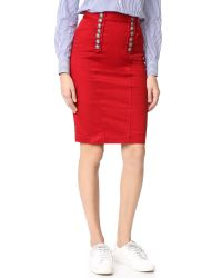DSquared²   Red High Waisted Pencil Skirt   Lyst