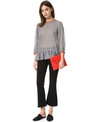 English Factory - Black Buffalo Check Ruffle Top - Lyst