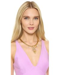 Elizabeth Cole - Metallic Beale Golden Crystal Necklace - Lyst