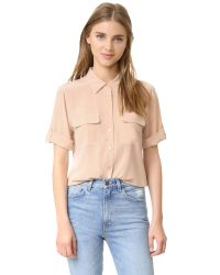 Equipment | Natural Short Sleeve Slim Signature Blouse | Lyst