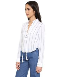 Faithfull The Brand - Blue Blake Crop Shirt - Lyst