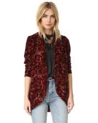 Free People | Multicolor Print Crinkle Velvet Slouchy Jacket | Lyst