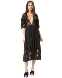 Ganni | Black Ayame Lace Deep V Dress | Lyst