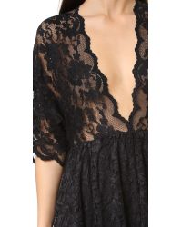 Ganni - Black Ayame Lace Deep V Dress - Lyst