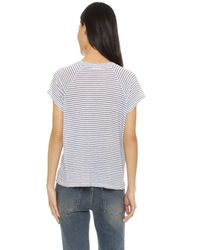 Monrow | White Lace Up Raglan Striped Tee | Lyst